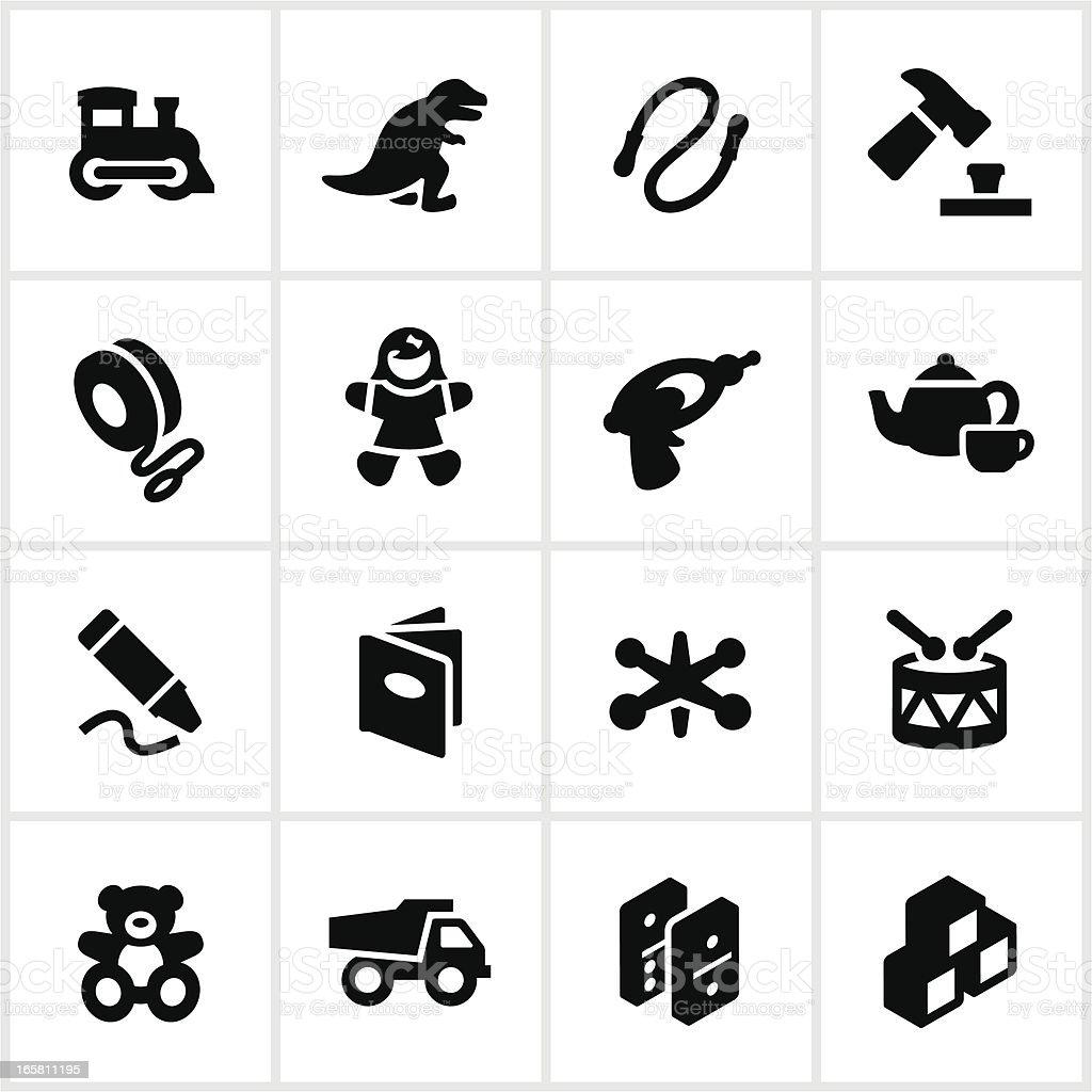 Black Children's Toys Icons vector art illustration