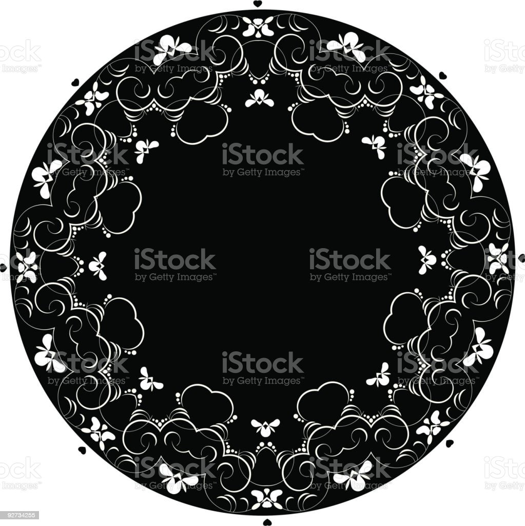 Black circle doily with swirly lily  and hearts pattern royalty-free stock vector art