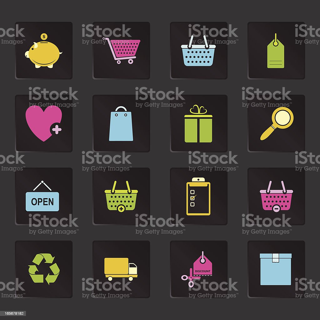 Black Colorful Shopping Icons royalty-free stock vector art