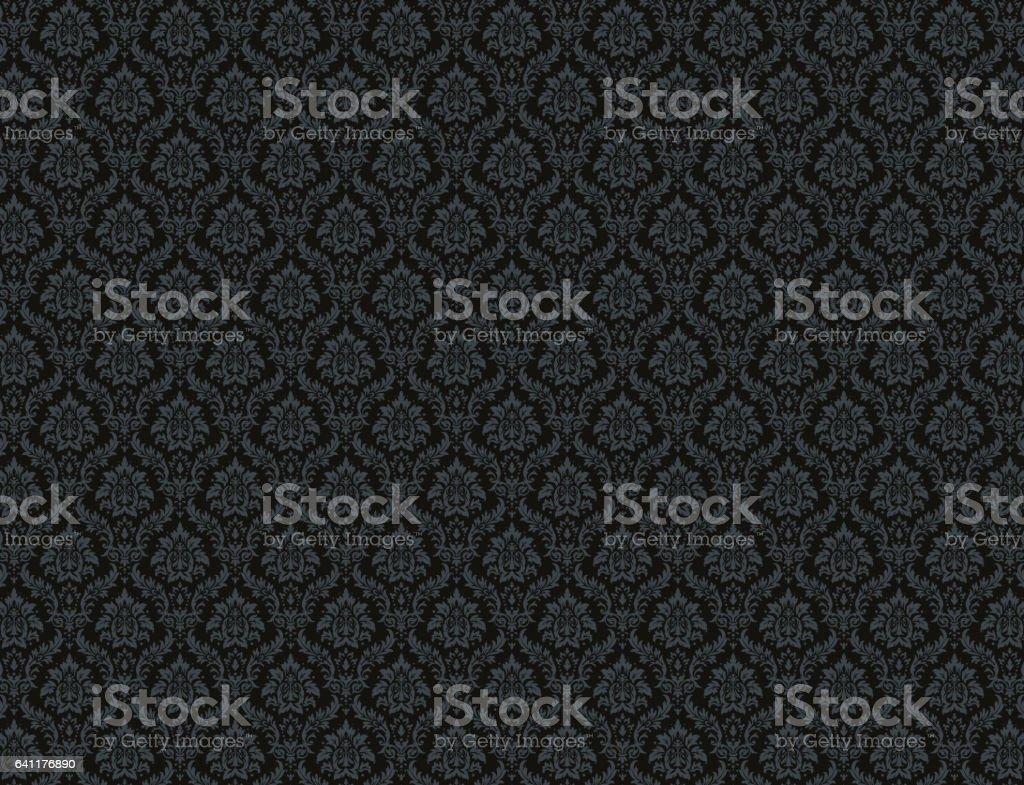 Black damask pattern background vector art illustration