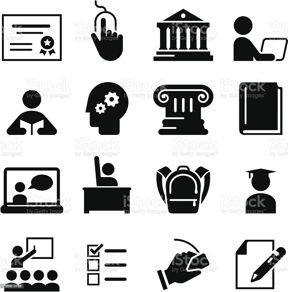 Black education icons on white background vector art illustration