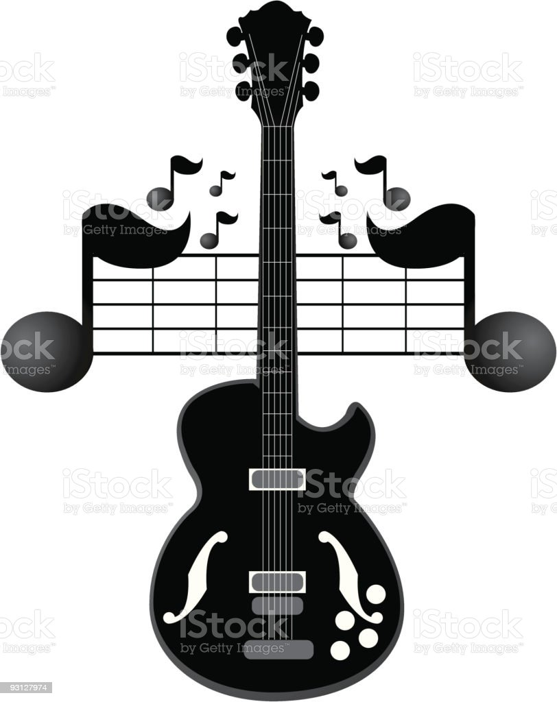 Black Electric Guitar with Flying Notes royalty-free stock vector art