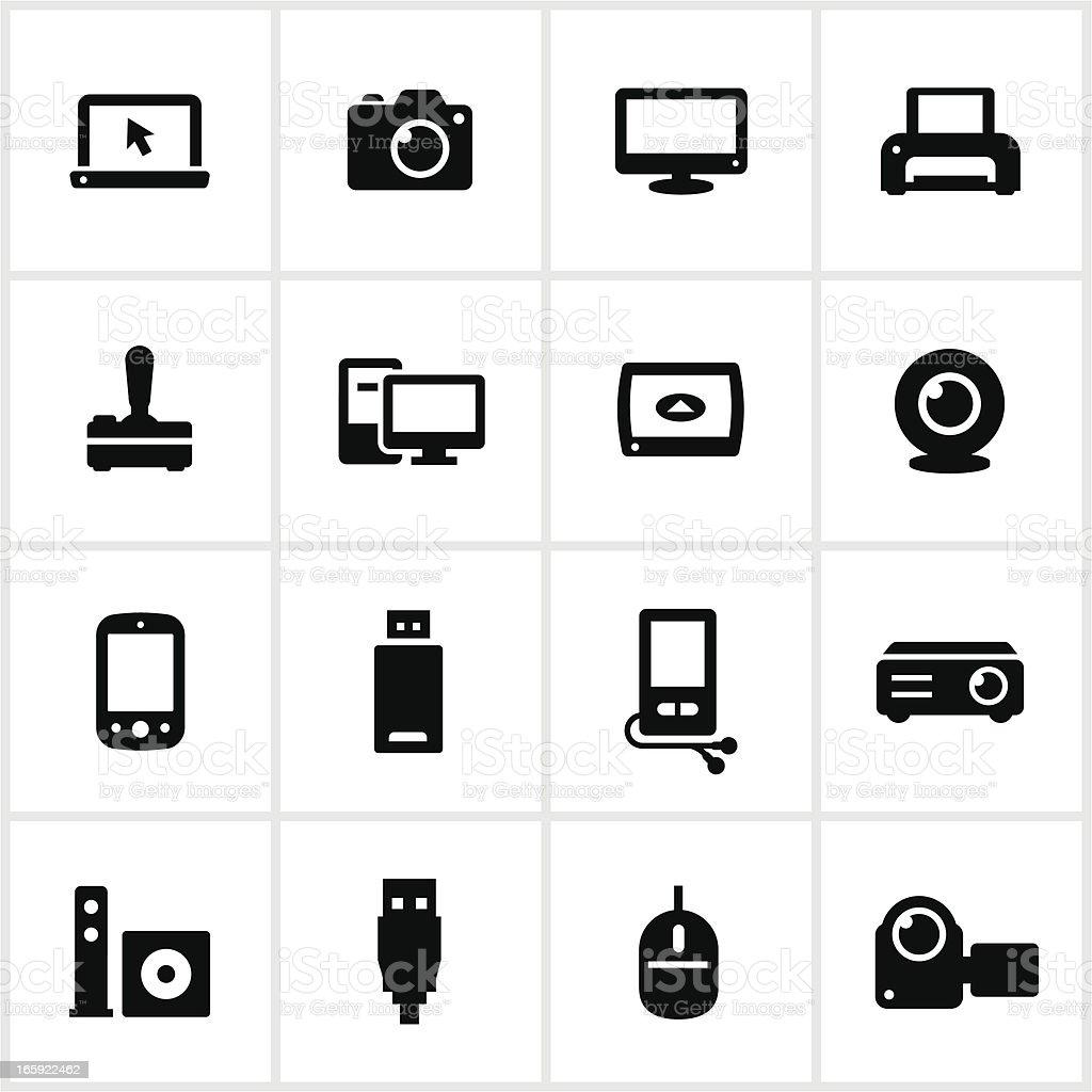 Black Electronics Icons royalty-free stock vector art