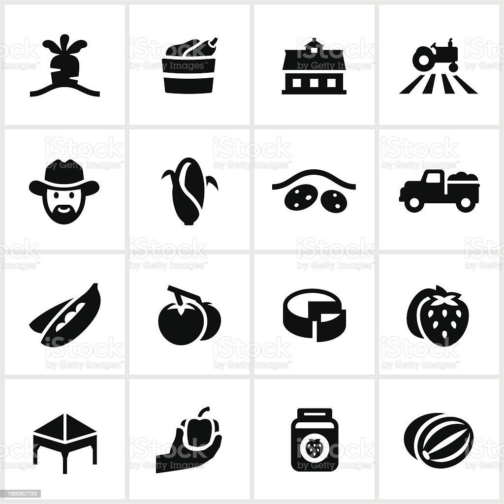 Black Farmer's Market Icons vector art illustration