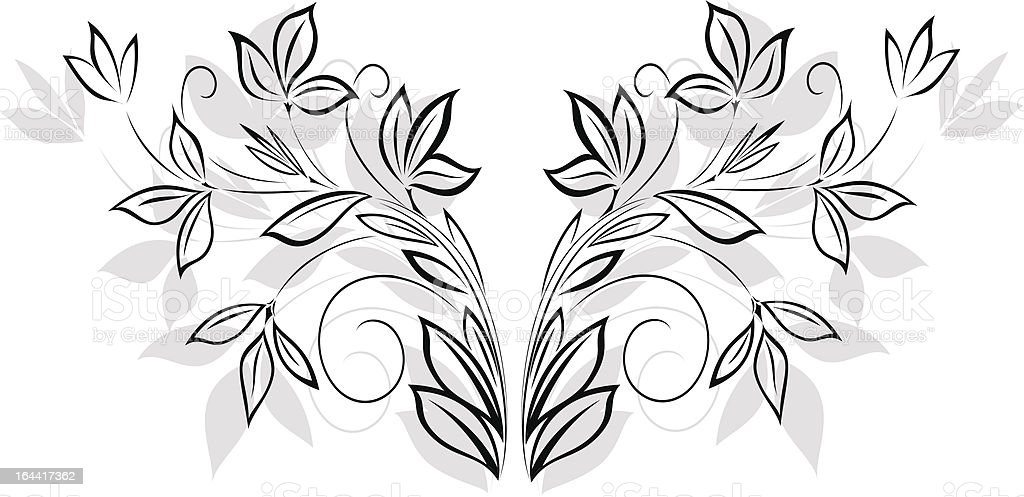 Black floral pattern royalty-free stock vector art