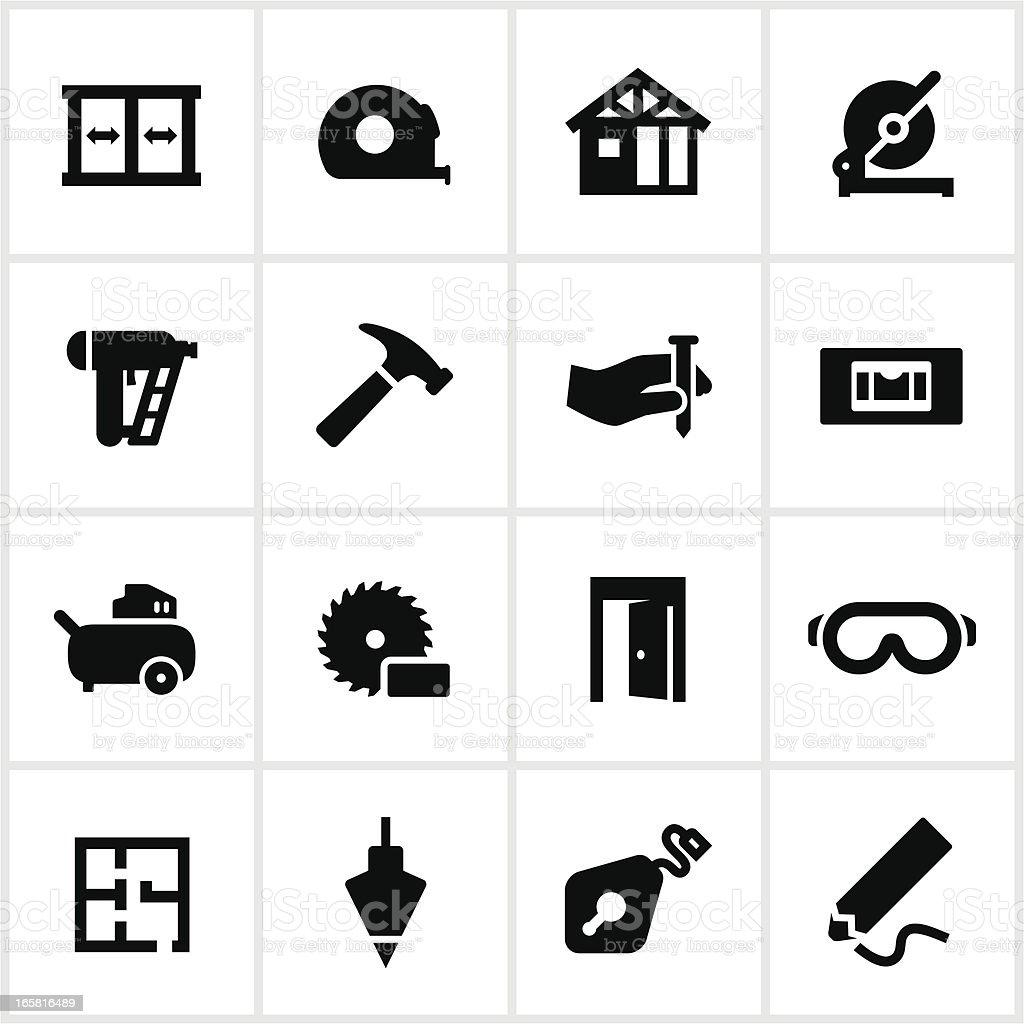 Black Framing Icons vector art illustration