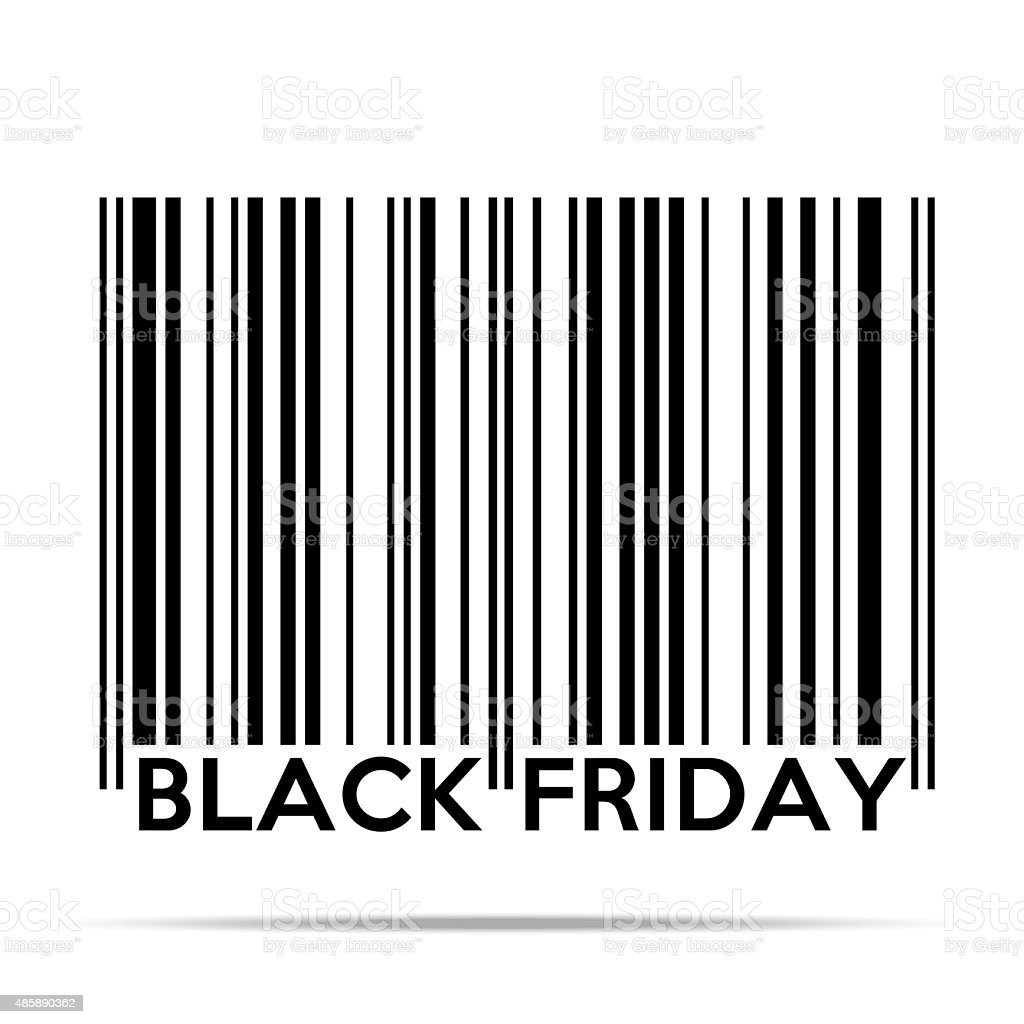 Black Friday sales tag in barcode style vector art illustration