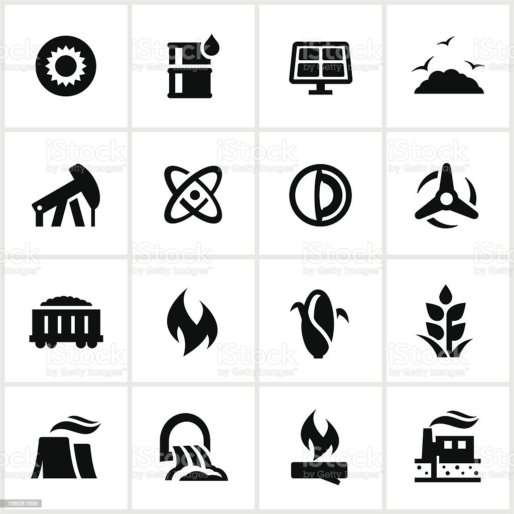 Black Fuel and Power Generation Icons vector art illustration