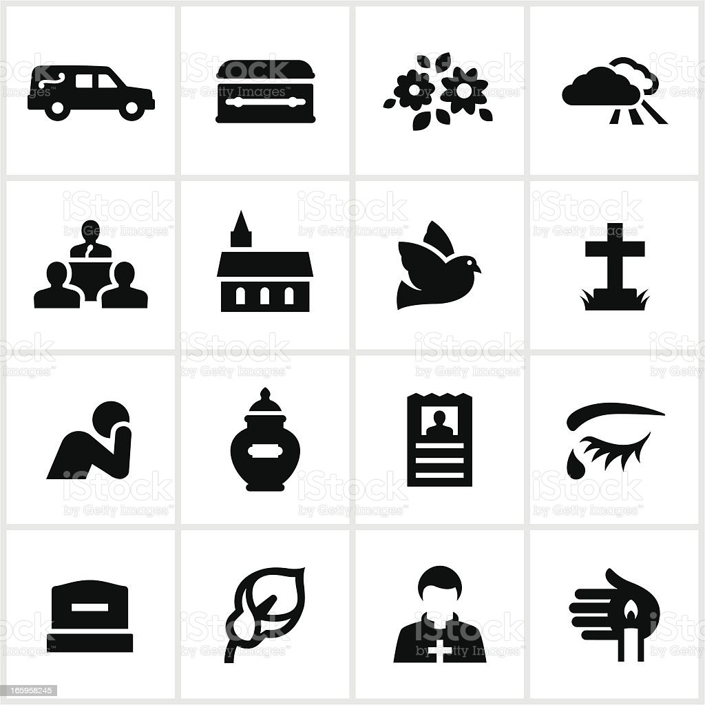 Black Funeral Icons vector art illustration