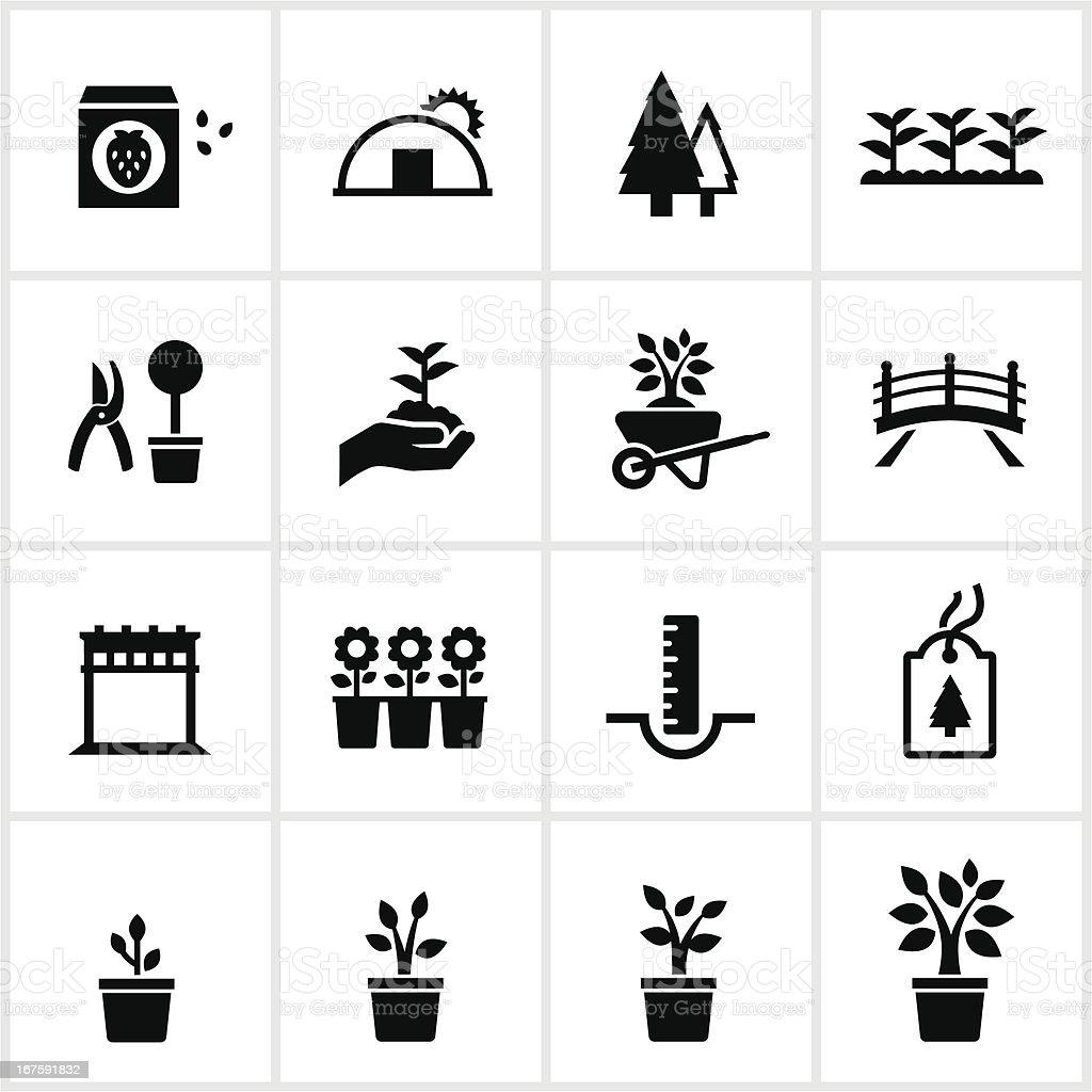 Black Garden Center Icons vector art illustration