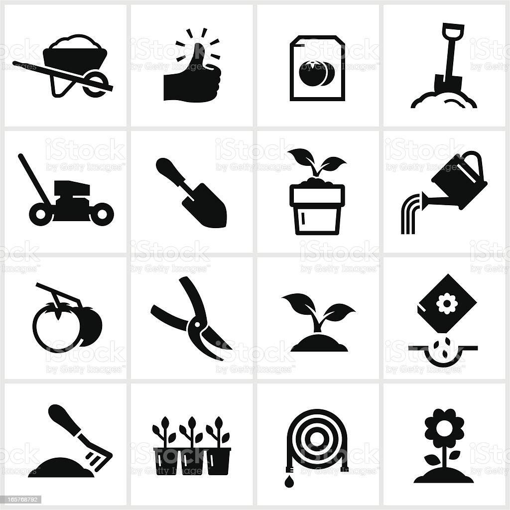 Black Gardening Icons vector art illustration
