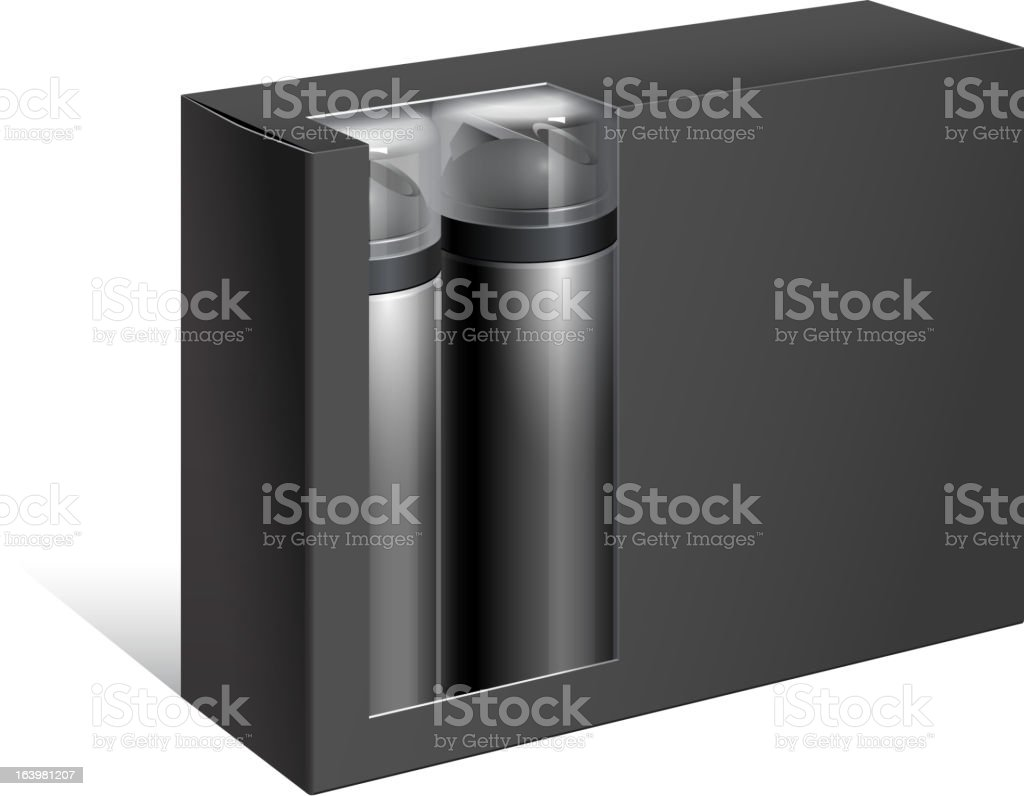 Black Gift Box with two bottles royalty-free stock vector art