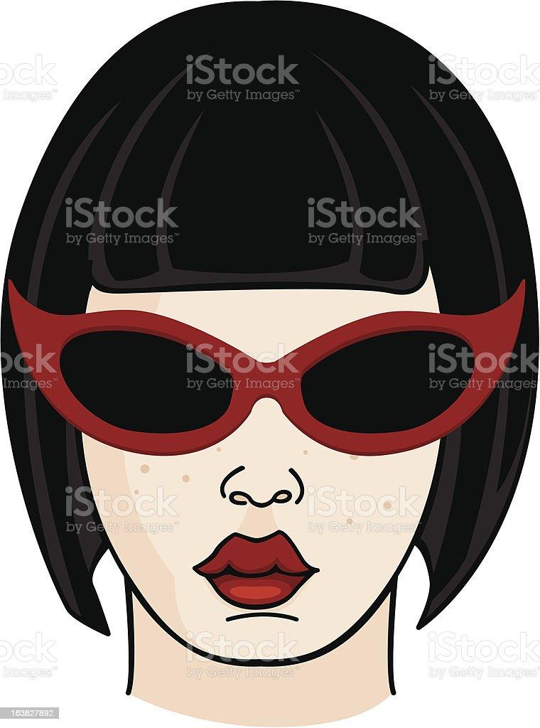 Black Hair Girl Wearing Sunglasses vector art illustration