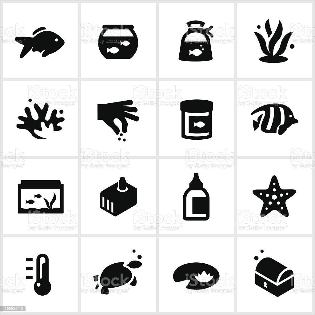 Black Home Aquarium Icons vector art illustration
