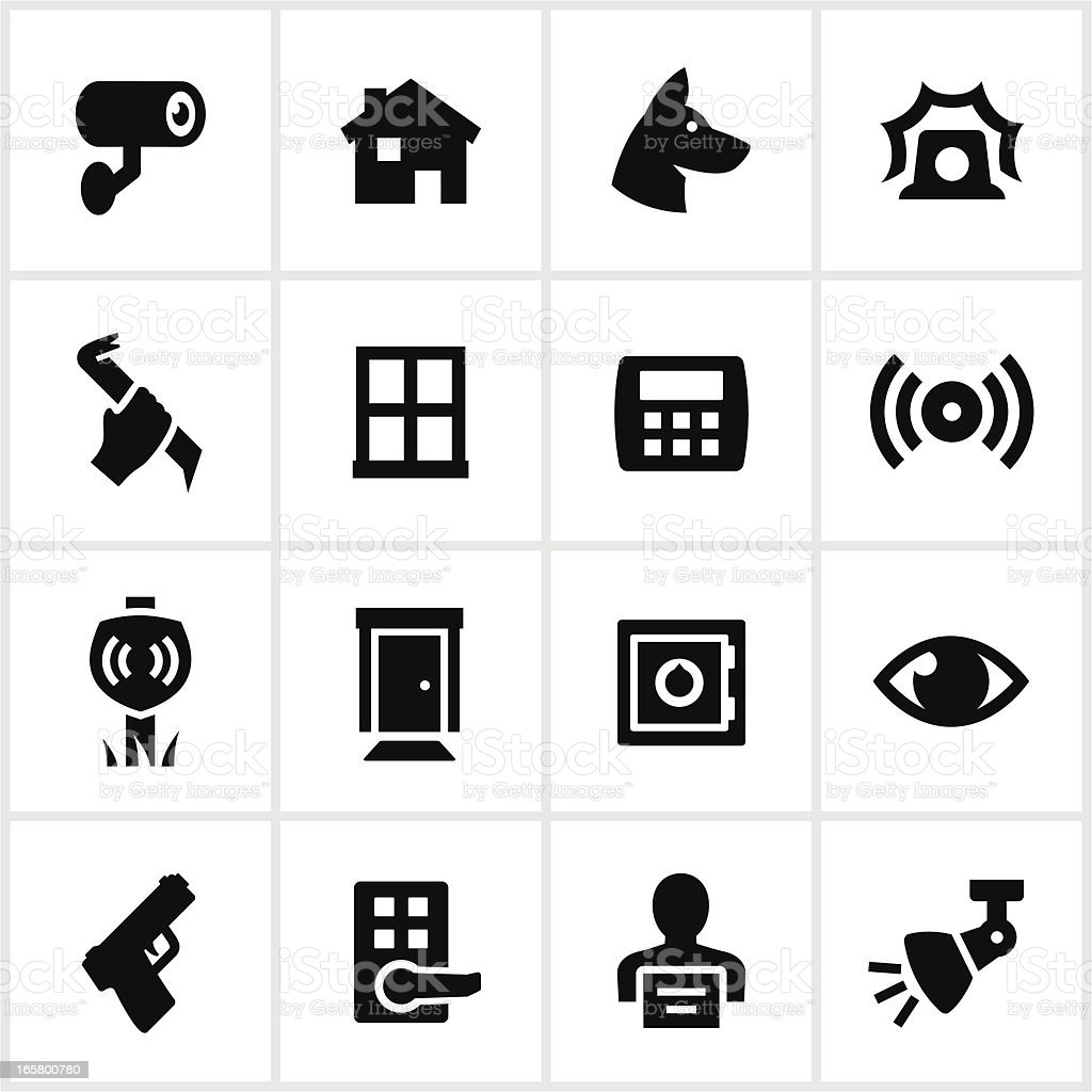 Black Home Security Icons vector art illustration