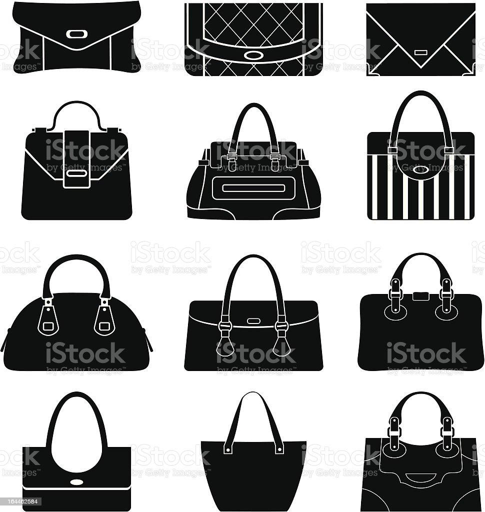 Black icons female bags vector art illustration