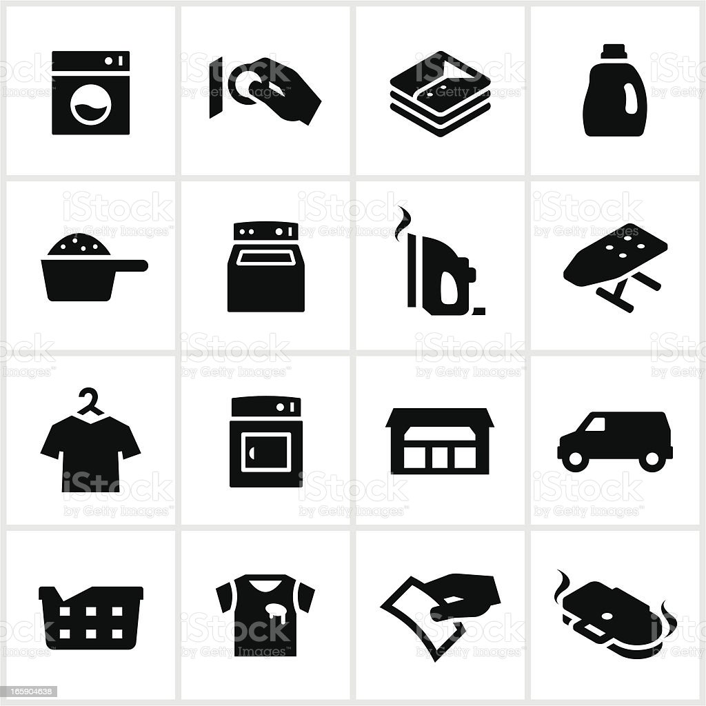 Black Laundromat Icons vector art illustration
