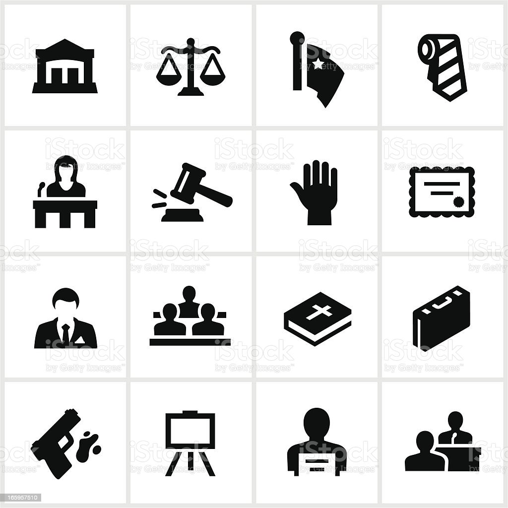 Black Law Icons vector art illustration