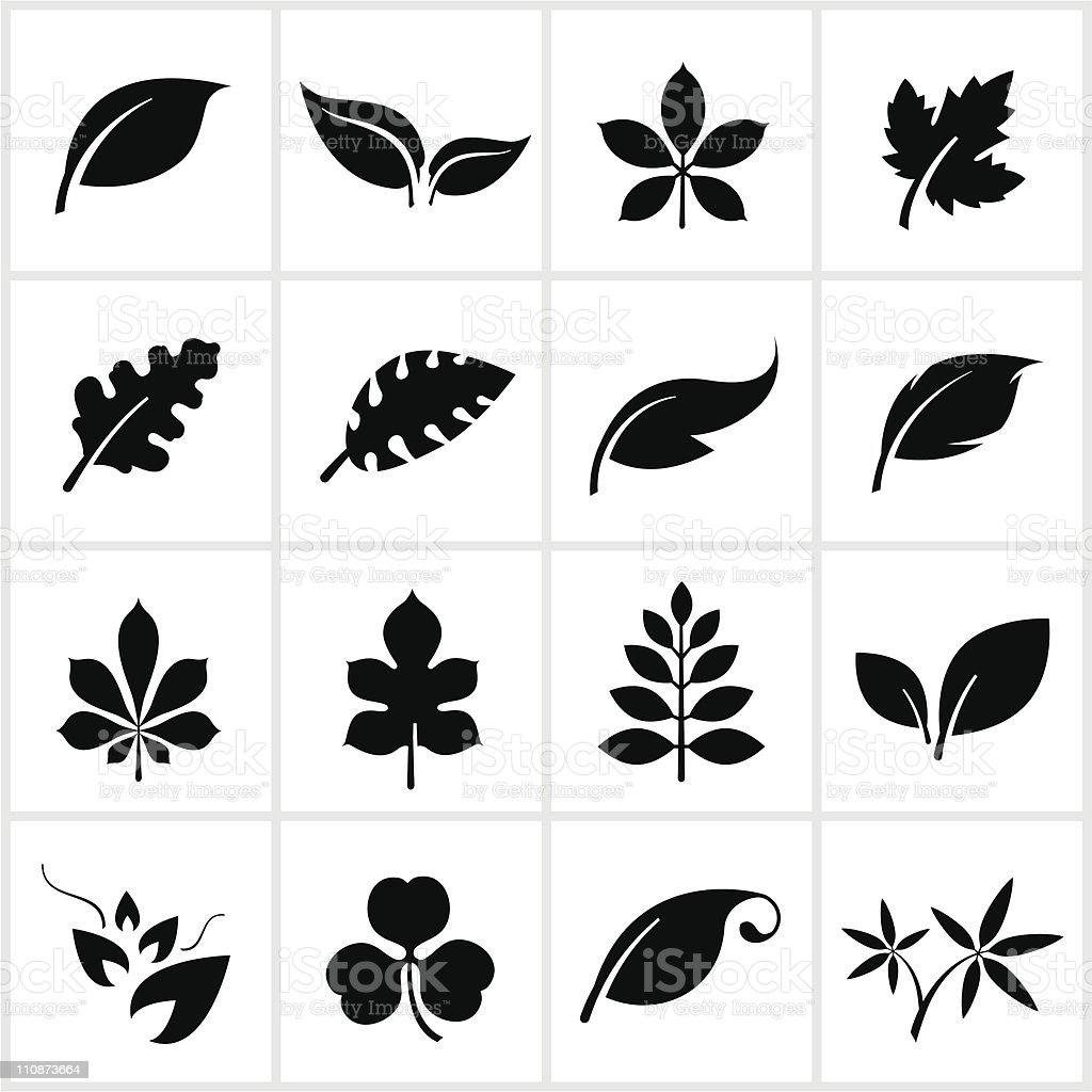 Black Leaf Symbols vector art illustration