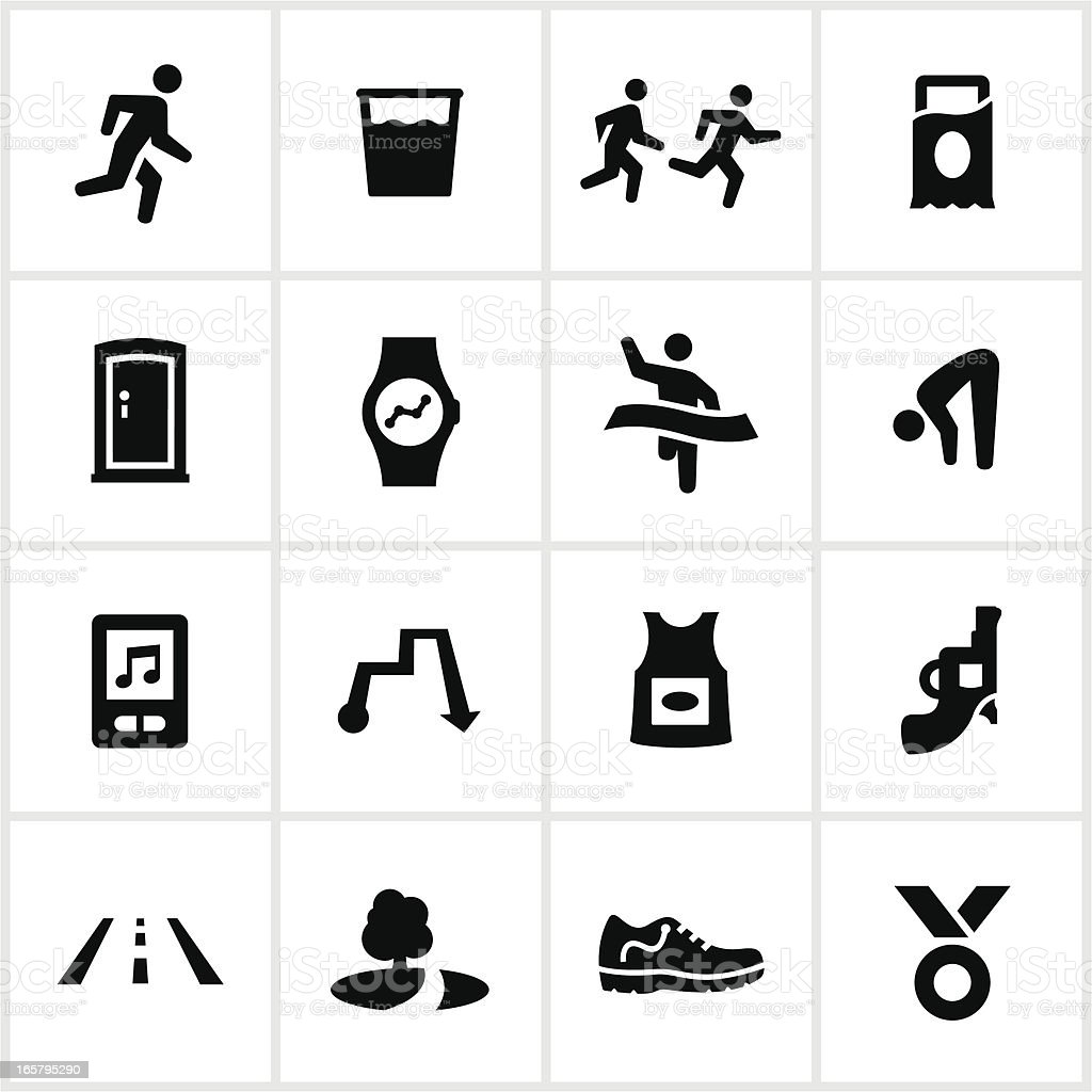 Black Long Distance Running Icons vector art illustration