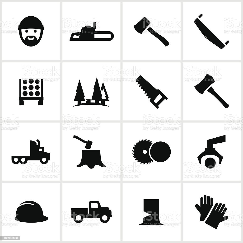 Black Lumberjack Icons vector art illustration