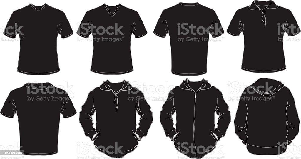 black male shirts template vector art illustration