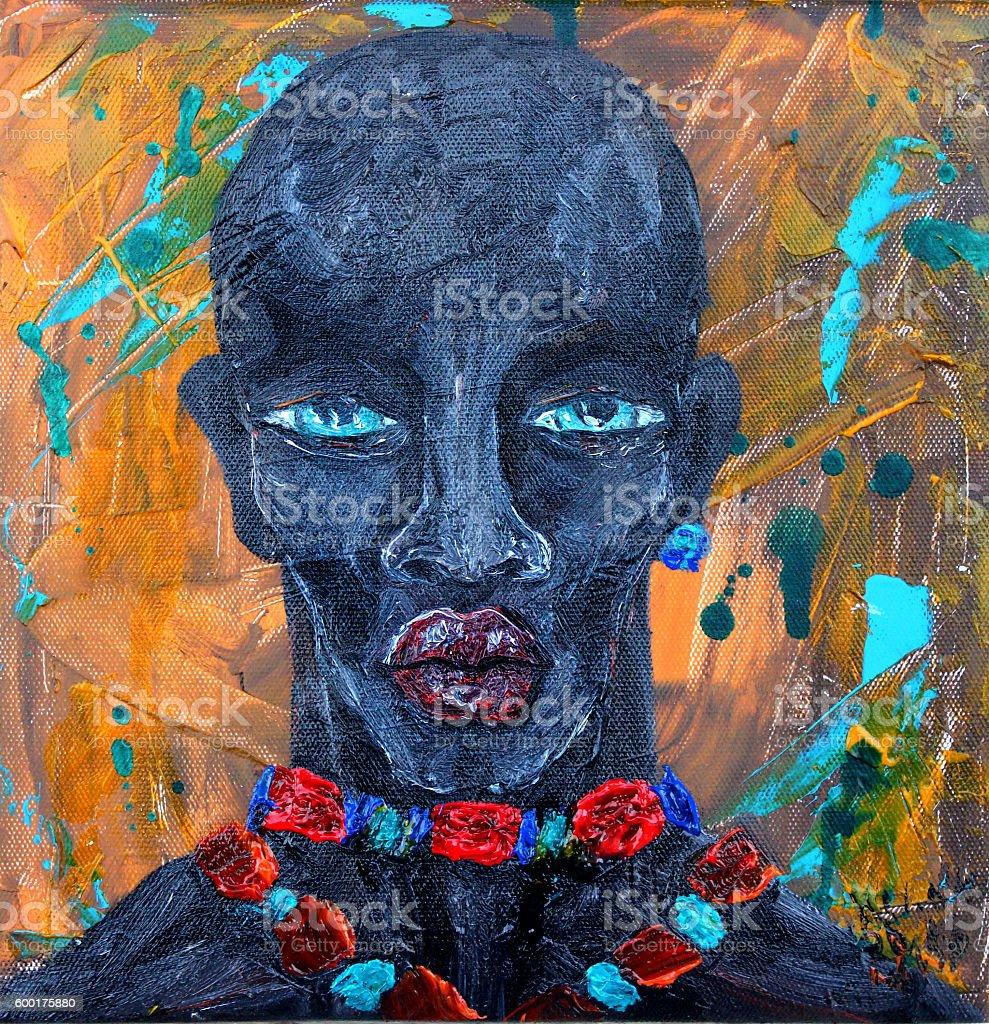 Black   Man  Portrait  at  abstract grunge background vector art illustration