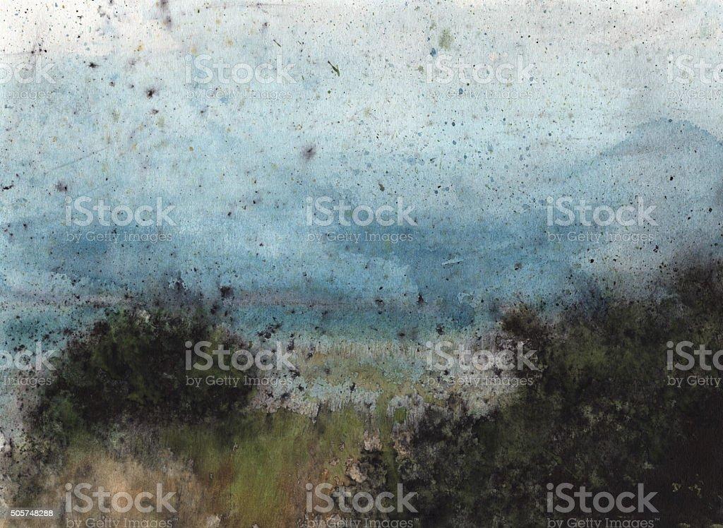 Black mangroves in a salt marsh vector art illustration