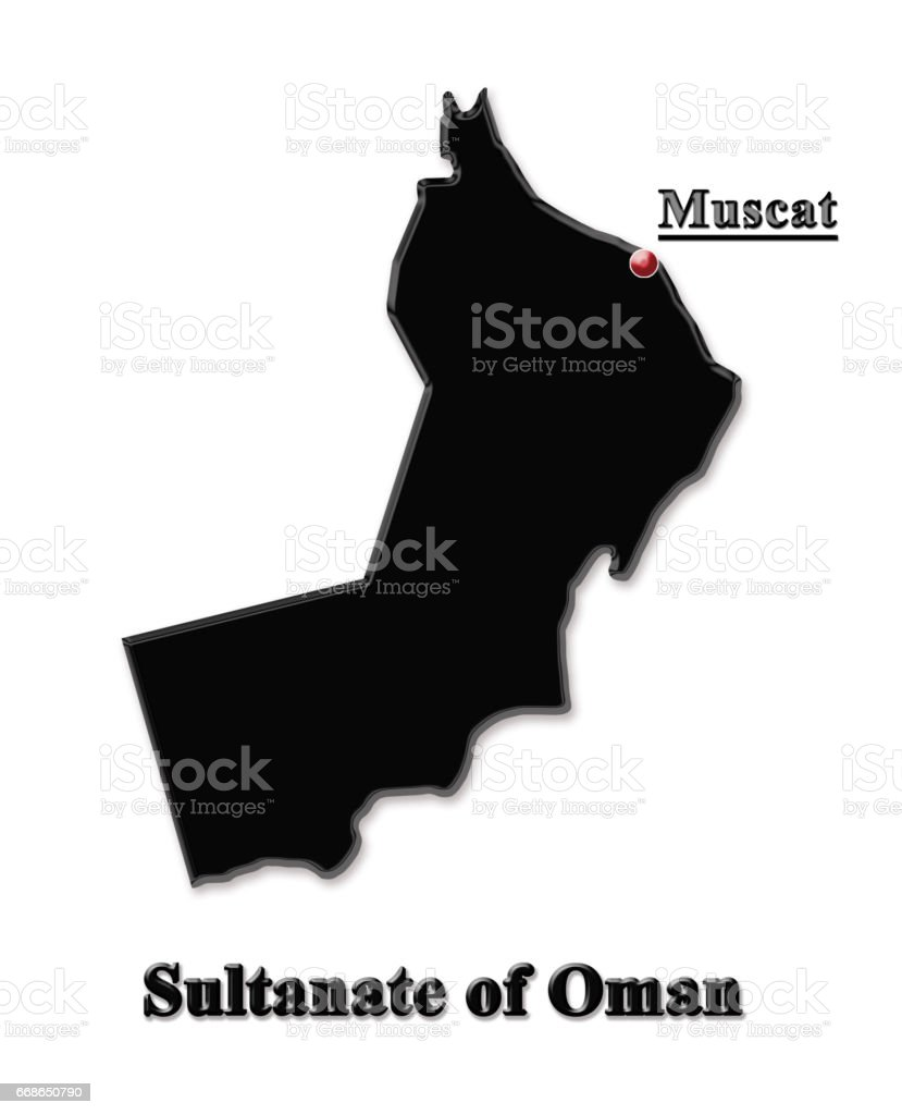 black map of Sultanate of Oman isolated on white background vector art illustration
