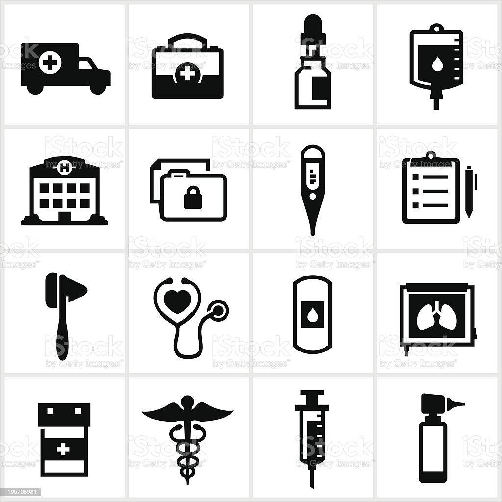 Black Medical Icons vector art illustration