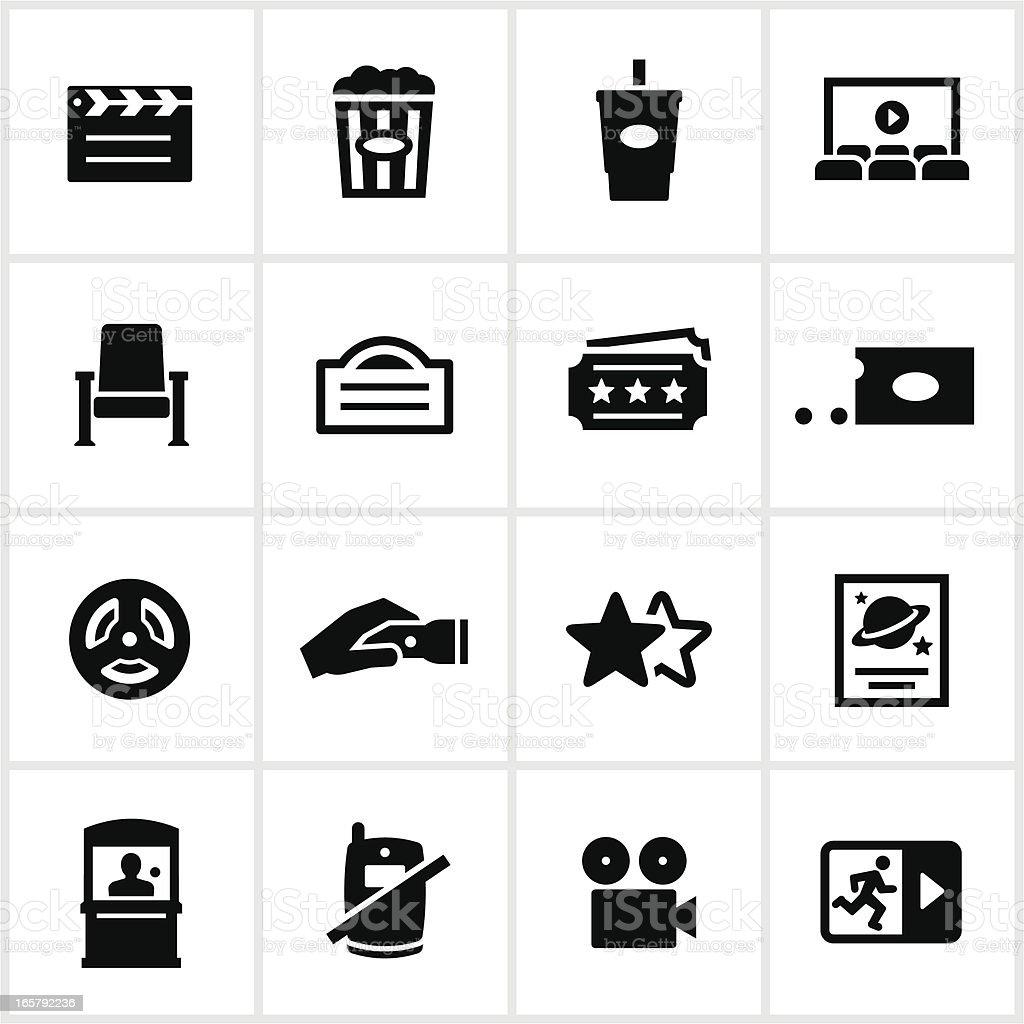 Black Movie Theater Icons vector art illustration