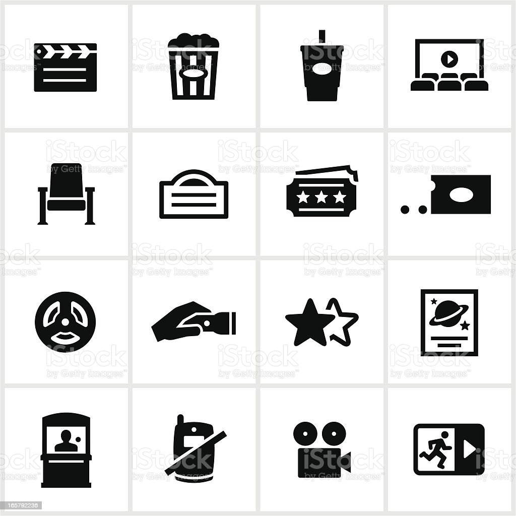 Black Movie Theater Icons vector art illustration