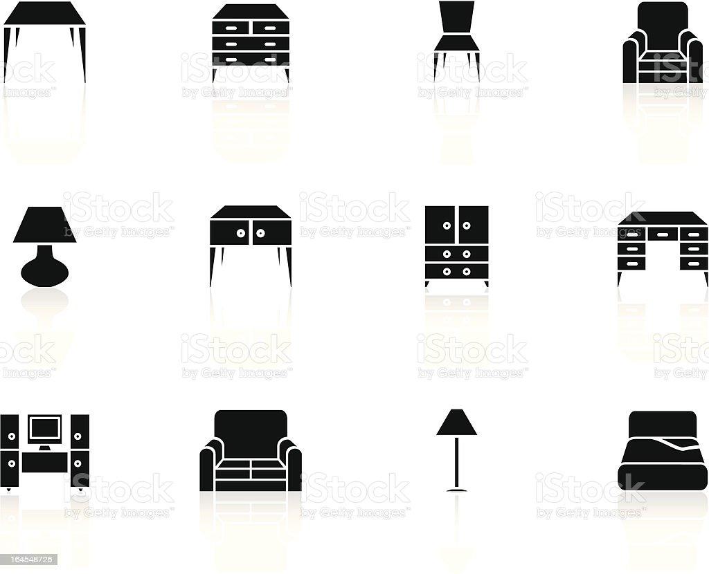black n white icons - furniture vector art illustration