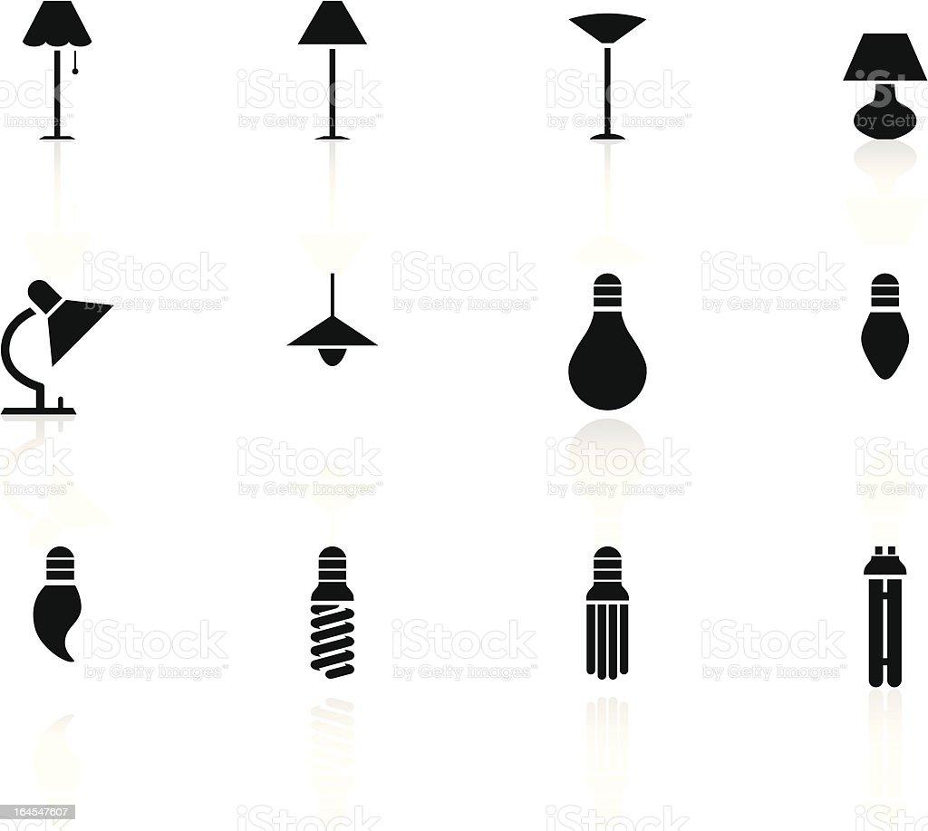 black n white icons - lights vector art illustration