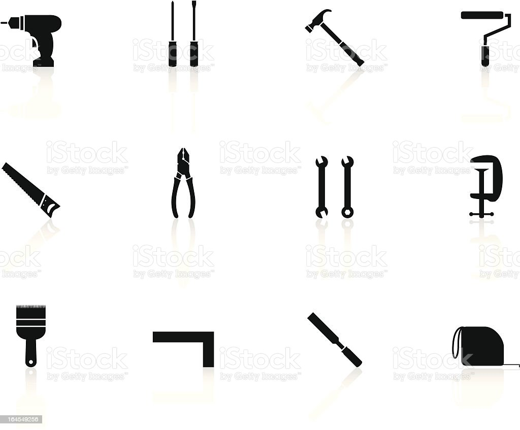 black n white icons - work tools royalty-free stock vector art
