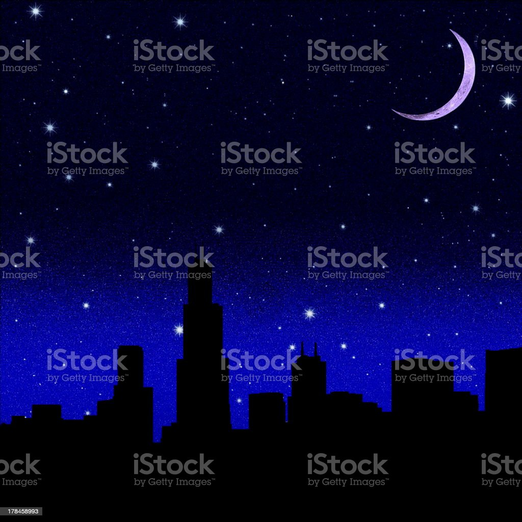 Black night starry sky royalty-free stock vector art