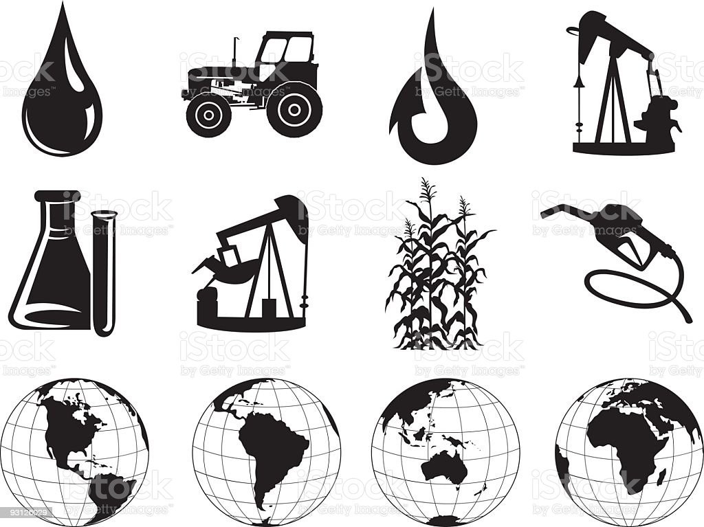 Black Oil Icons Clipart vector art illustration