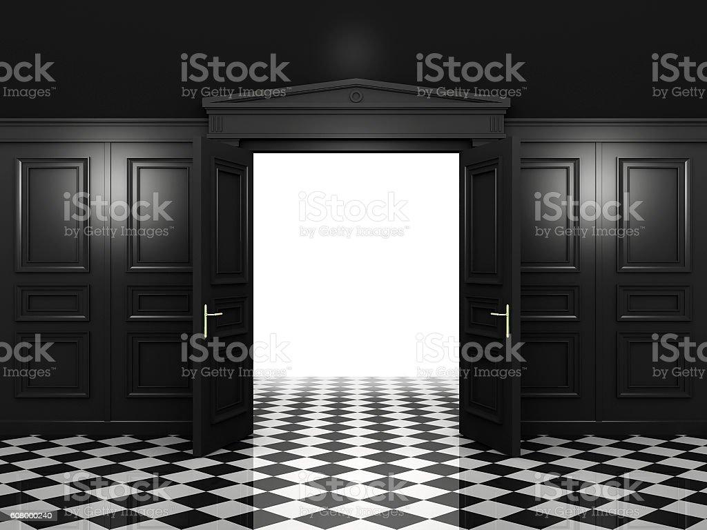 Black open double doors vector art illustration