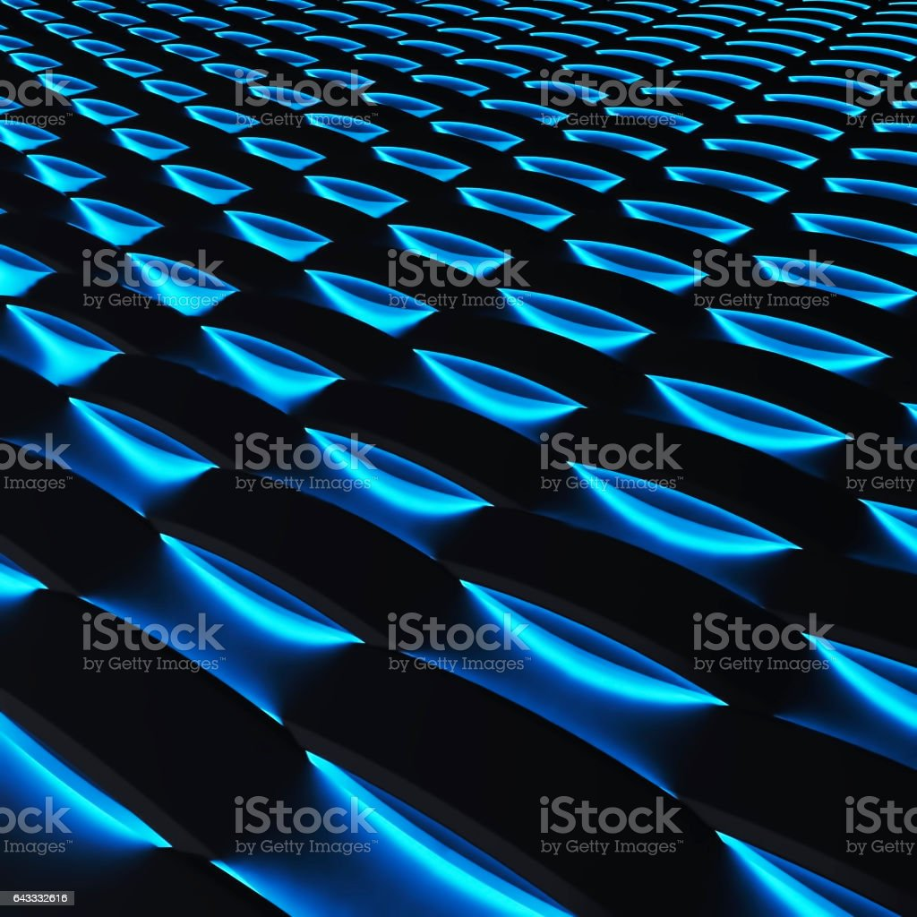 Black panels with luminescence. 3d rendering. vector art illustration