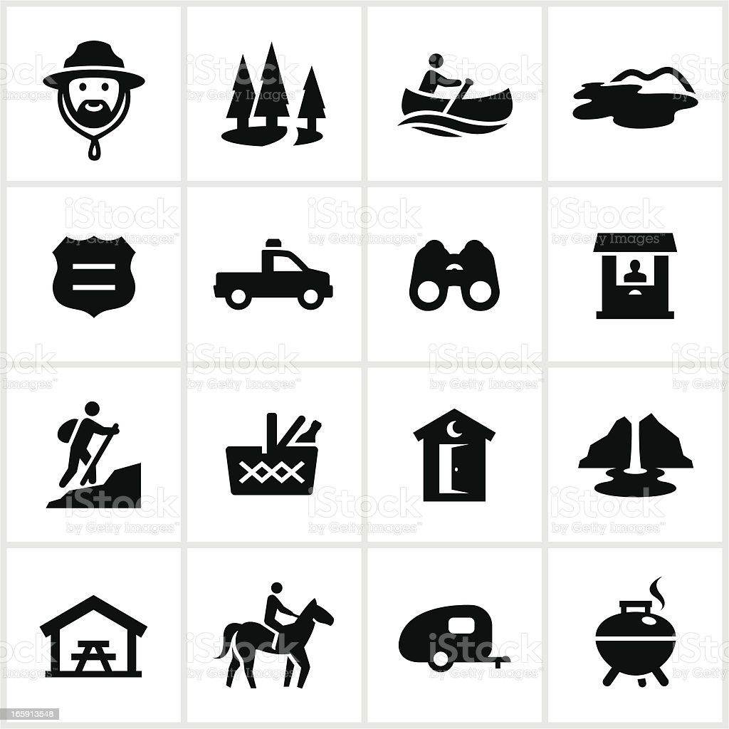 Black Park and Recreation Icons vector art illustration