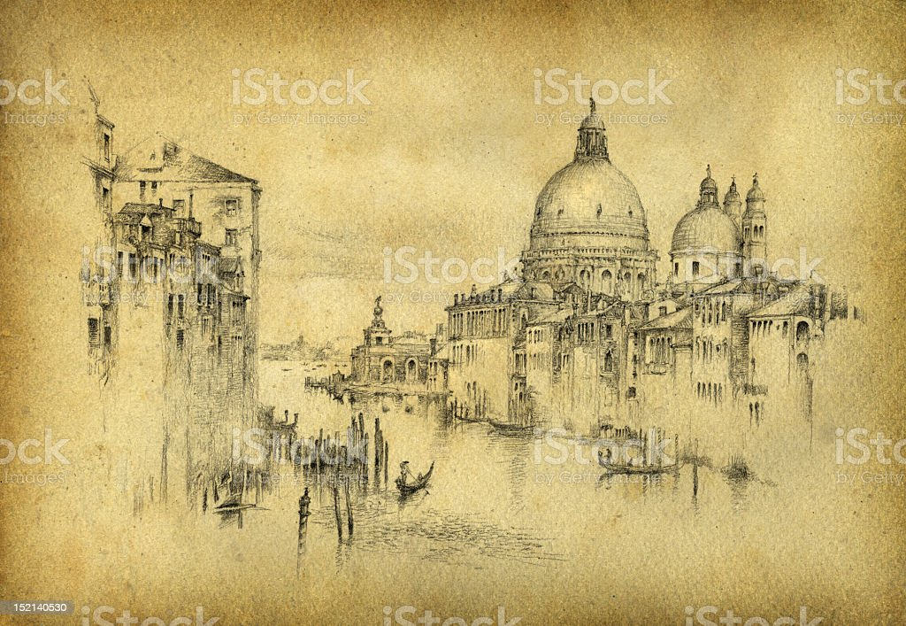 A black pencil sketch of Venice on old paper vector art illustration