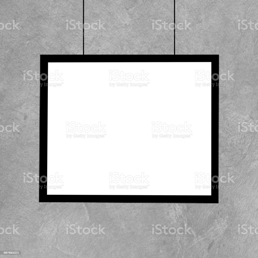 Black picture frame template on grunge wall stock photo