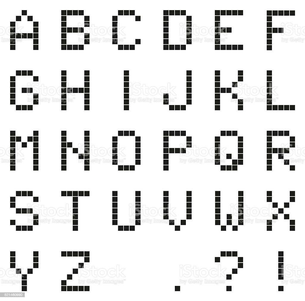 Black pixel alphabet (with punctuation) with grid stock photo