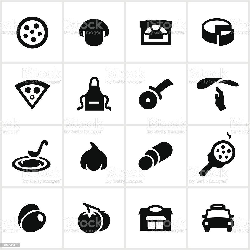 Black Pizza Icons vector art illustration