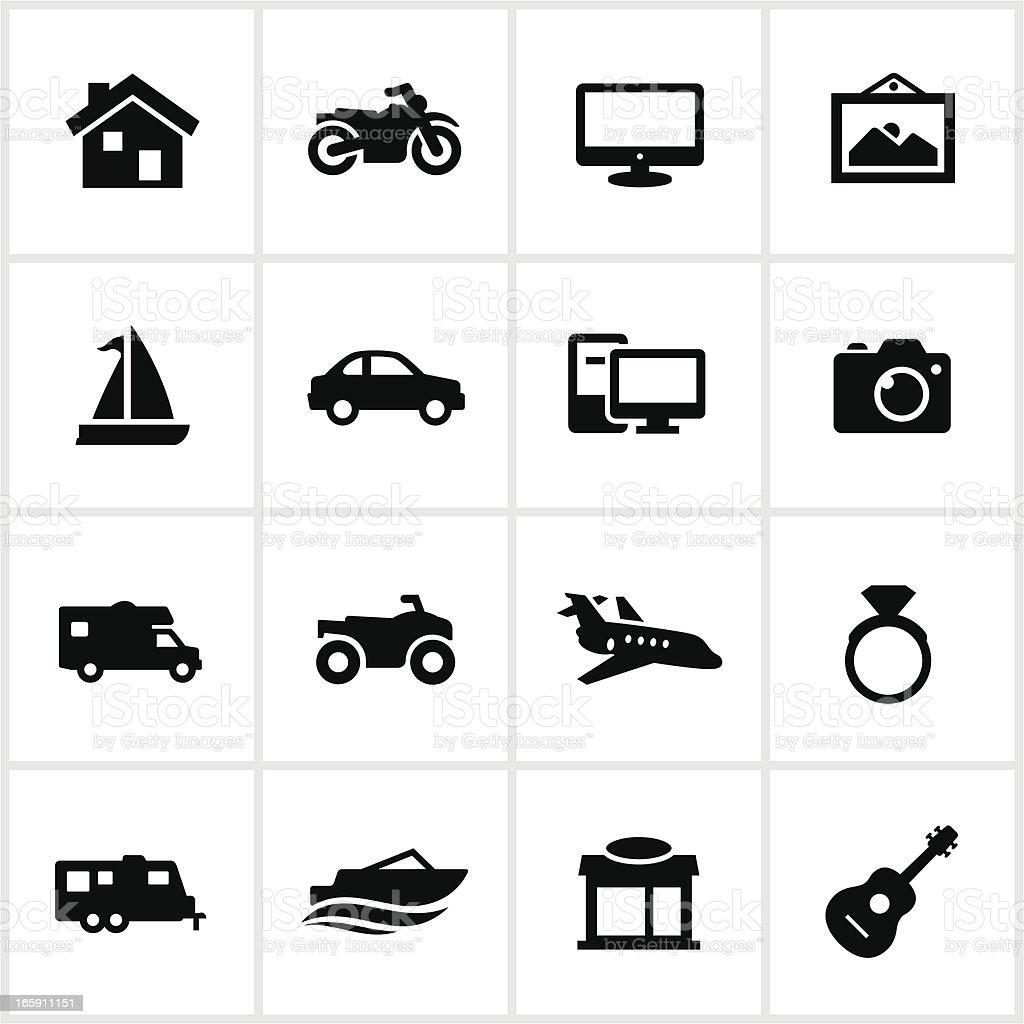 Black Property Insurance Icons vector art illustration