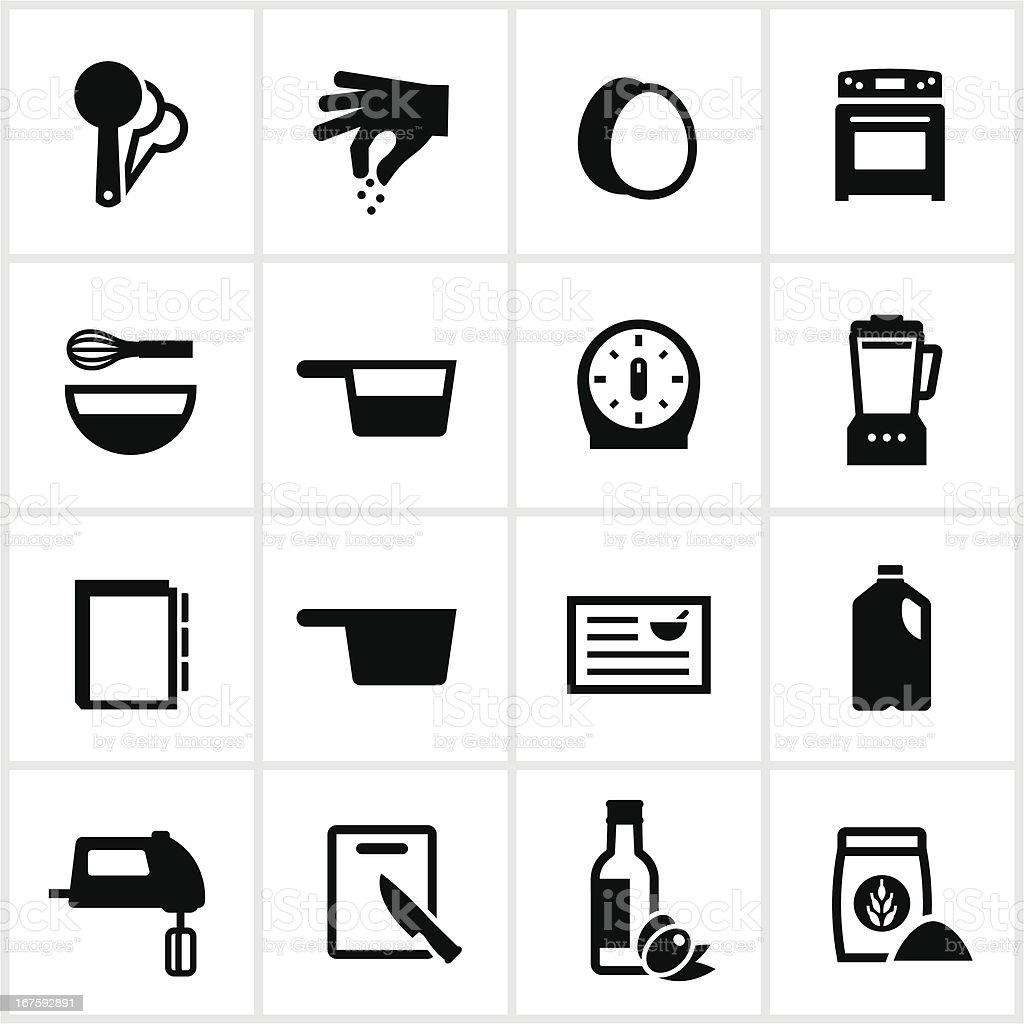 Black Recipe Icons vector art illustration