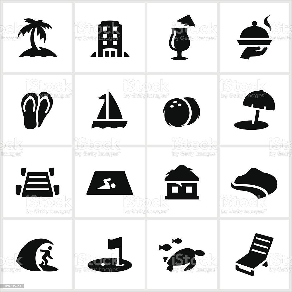 Black Resort Icons vector art illustration