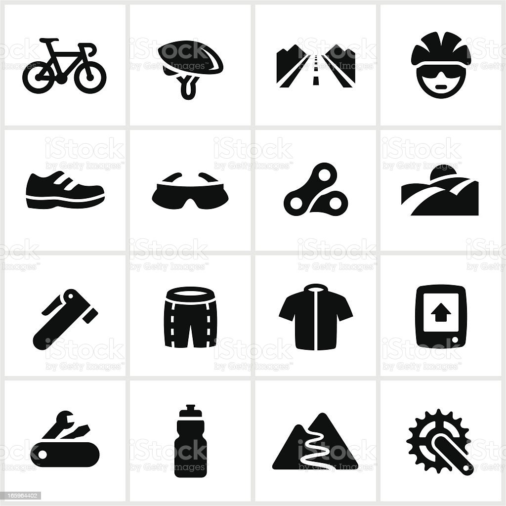 Black Road Biking Icons vector art illustration