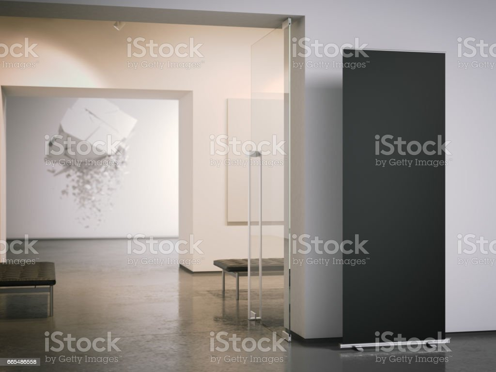 Black roll up banner at the entrance. 3d rendering stock photo