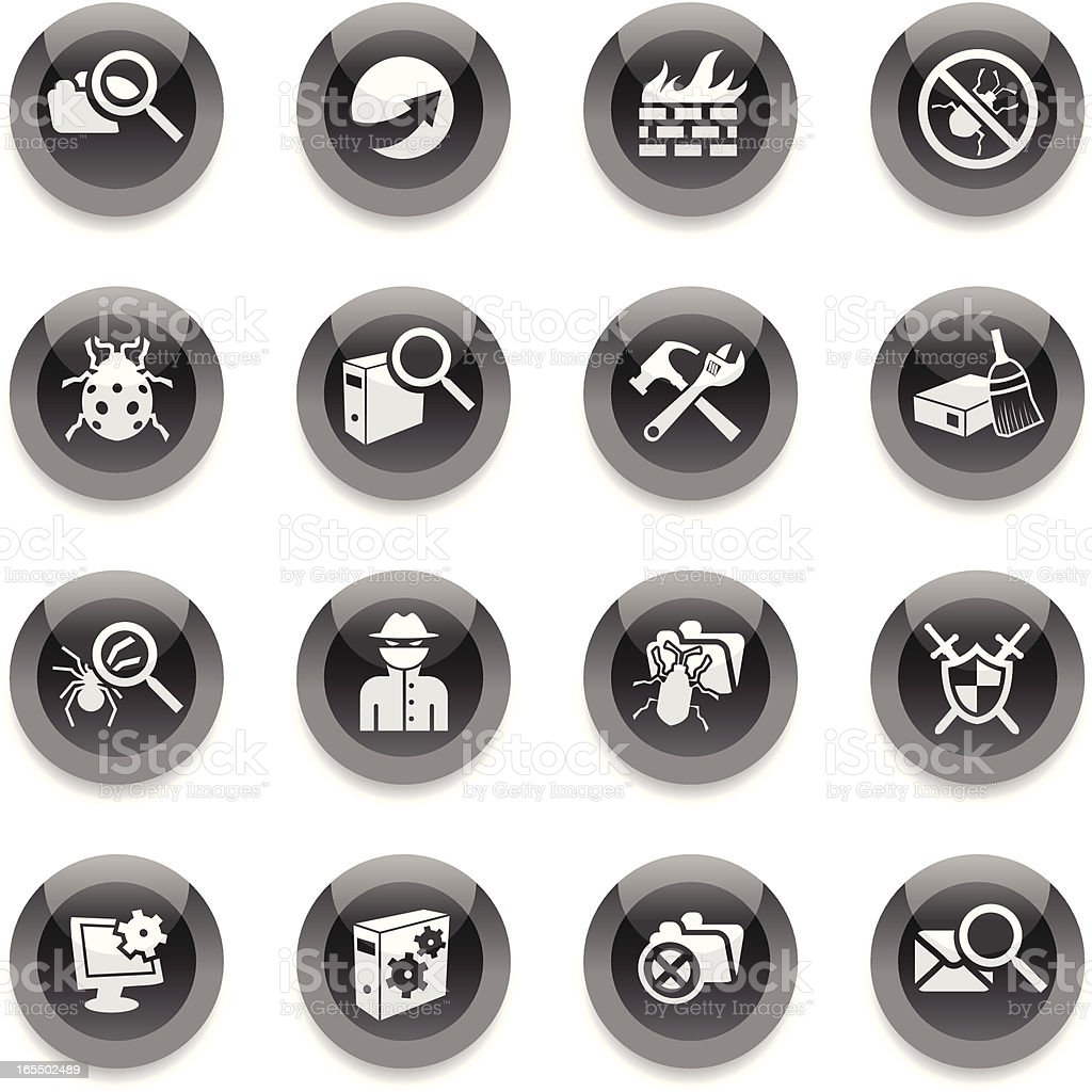 Black Round Icons - Web Security royalty-free stock vector art